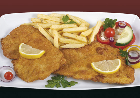 Wiener Schnitzel vom Kalb 10,50 / Breadcrumbed and fried veal scallop (A,C,G)